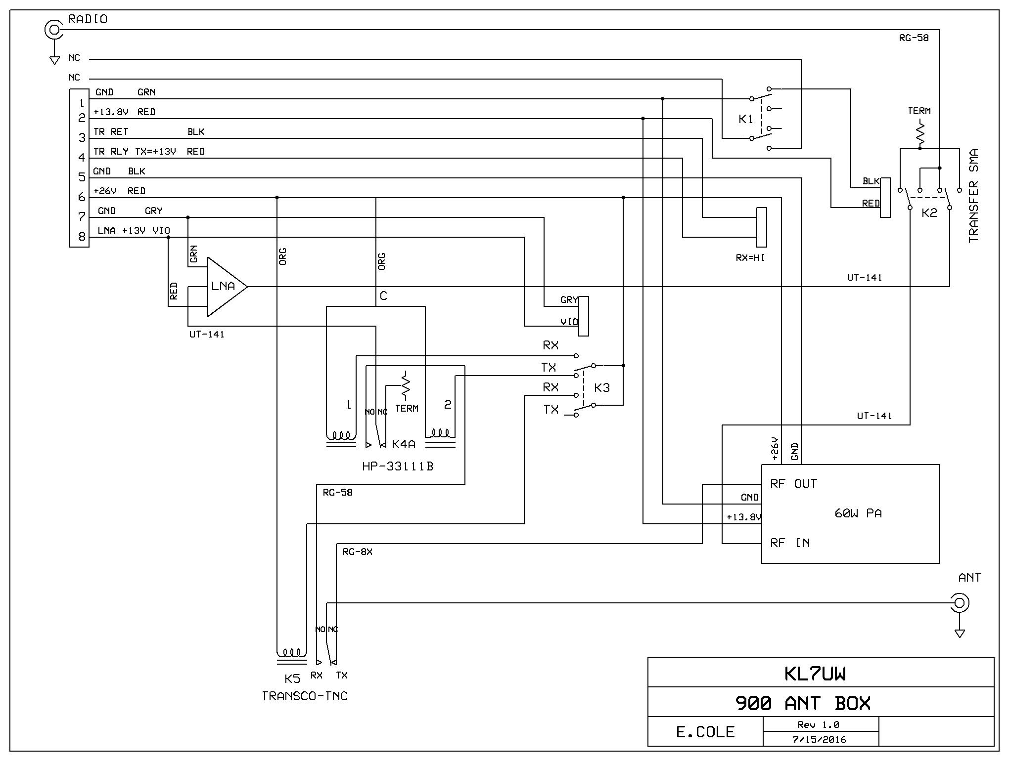 2 Meter Eme Page H 264 Block Diagram Tower Box Schematic Has Been Wired To Add A Narda Sem123n Relay For Switching Between 144 And 900 1296 Mhz Equipment